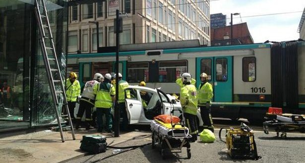 Novice cab driver banned who crashed taxi into tram in Manchester City Centre
